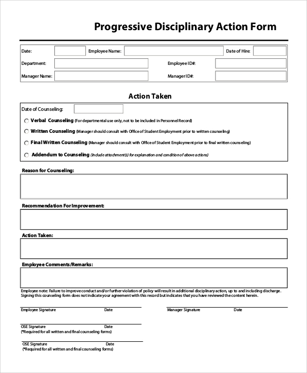 Sample Disciplinary Action Form 8 Examples in PDF Word – Employee Counseling Form