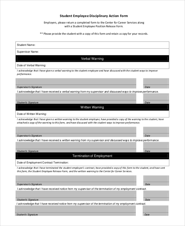 Sample Disciplinary Action Form 8 Examples in PDF Word – Disciplinary Action Form