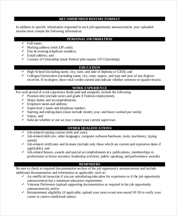Resume Format Example 8 Samples in Word PDF