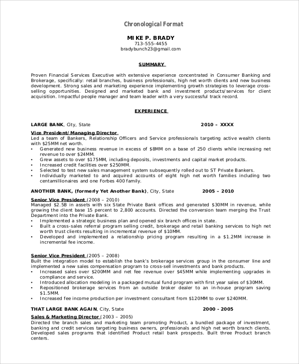 free 8  resume format samples in ms word