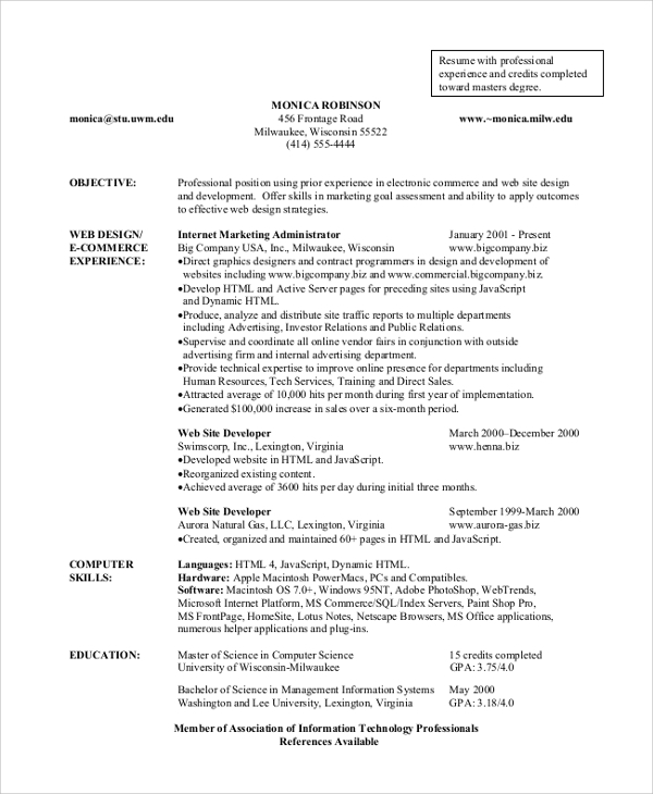 Resume Format Example - 8+ Samples In Word, Pdf