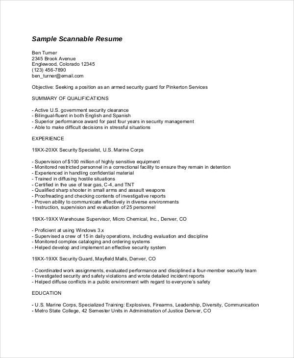 resume format exle 8 sles in word pdf