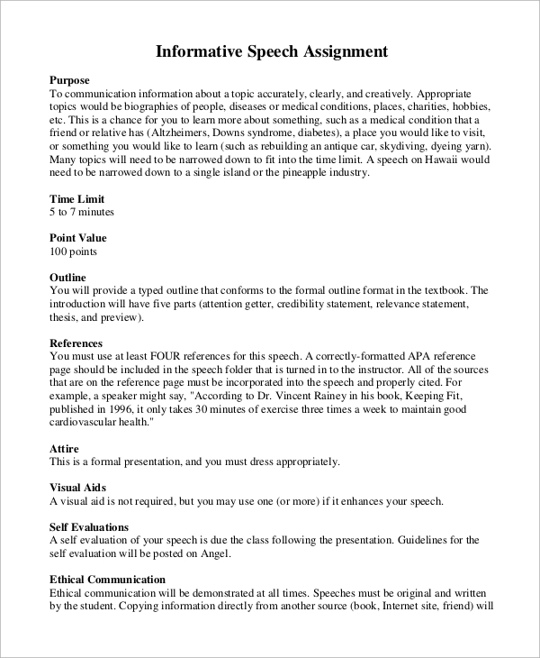 informative speech thesis statement examples Depression a sample informative speech contents topic, thesis and basic outline page 2 below is an example of a perfect speech thesis statement.