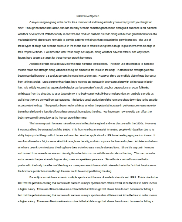 Informative Speech Example   Samples In Word Pdf