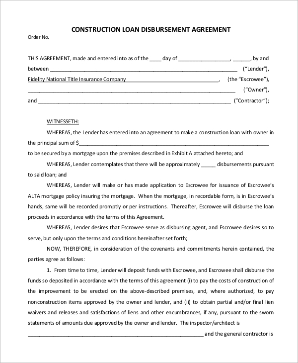 Sample Construction Loan Agreement   Examples In Pdf