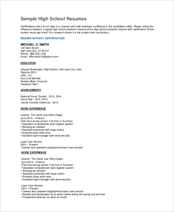 experienced high school student resume example