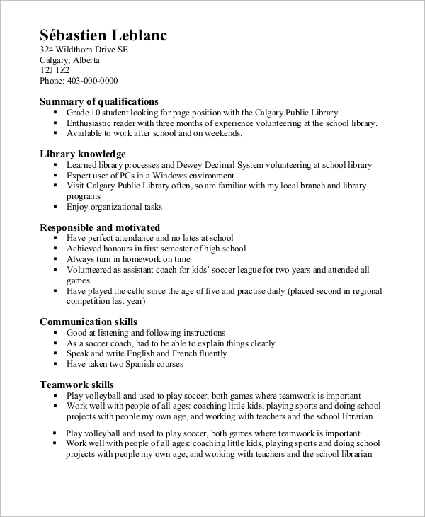 High School Resume Example   Samples In Word Pdf