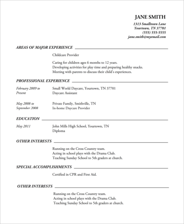 Printable-High--Resume-Example Volunteer Resume Format on volunteer section of resume, volunteer resume samples for clericals, volunteer resume objective, volunteer request letter, volunteer activities on resume,