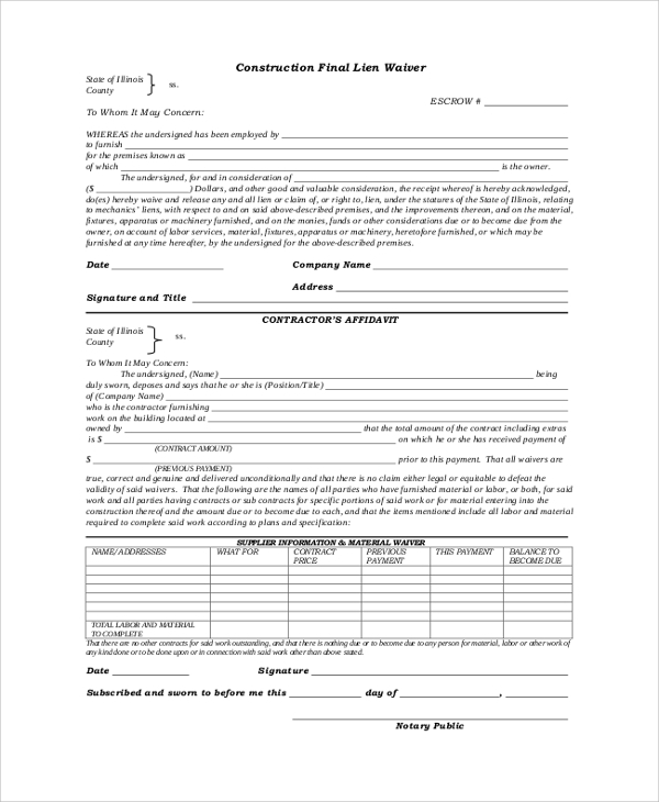 Lien Release Form U2013 Sample Templates