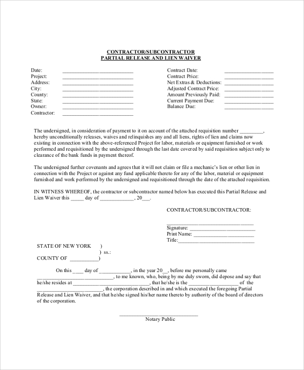 Sample Lien Waiver Form   Examples In Pdf Word
