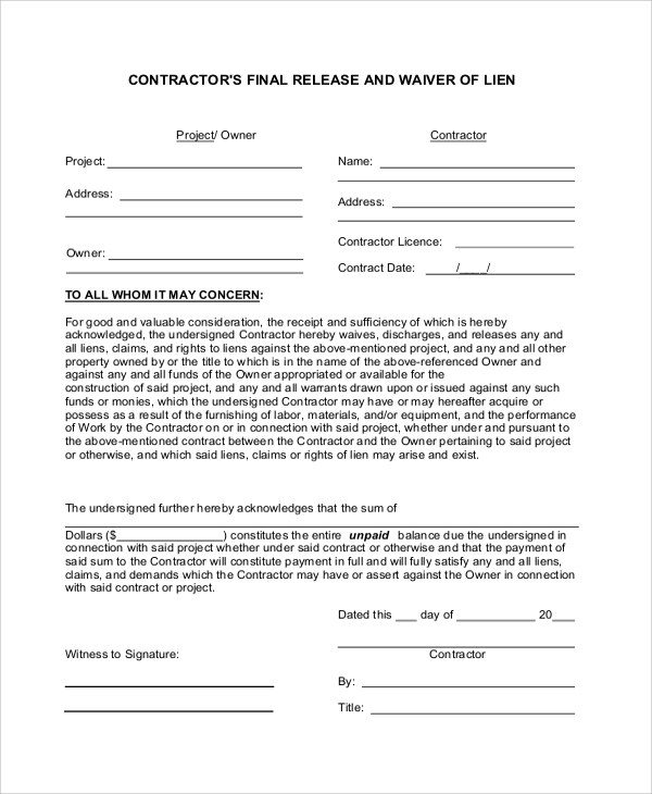 Sample Contractor Lien Waiver Form