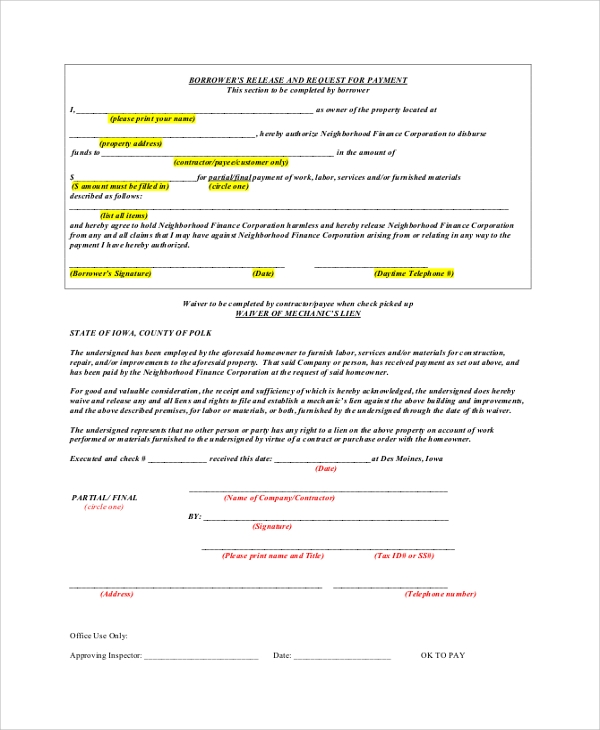 Sample Lien Waiver Release Form