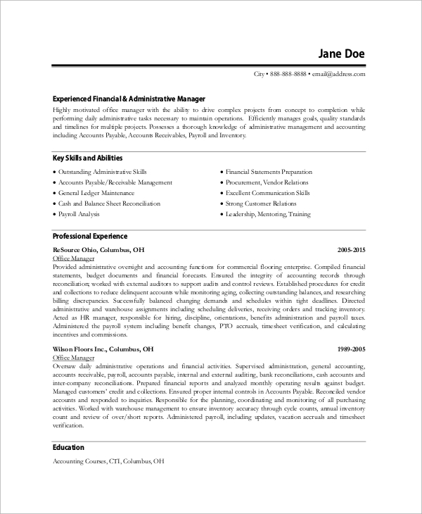 Sample Office Manager Resume   Examples In Word Pdf