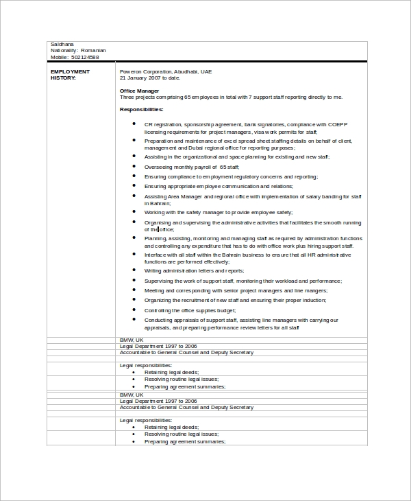 senior office manager resume