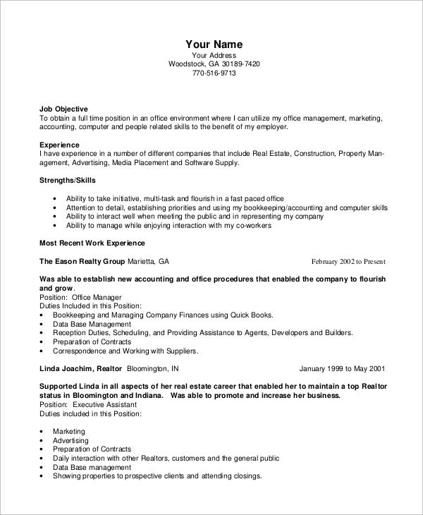 office manager resume format