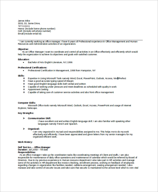 Office Manager Resume Sample  Sample Resume And Free Resume Templates