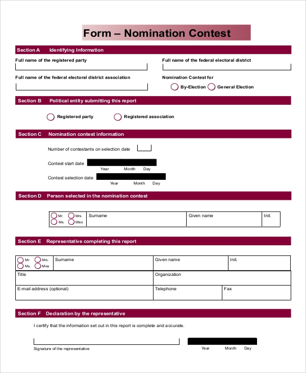 nomination contest form