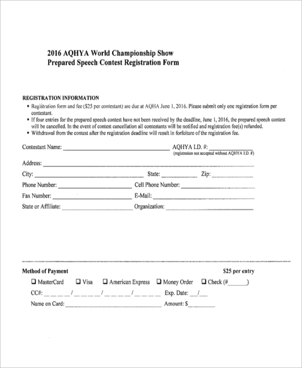 speech contest form