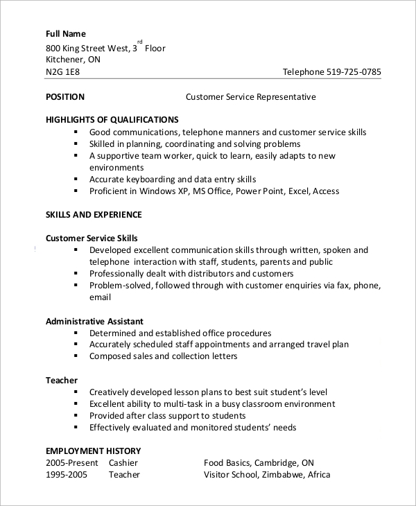 Customer Service Resume Example   Samples In Word Pdf