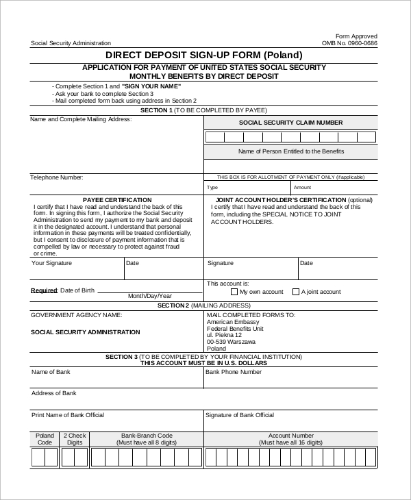 deposit form example  Sample Social Security Direct Deposit Form - 8+ Examples in PDF