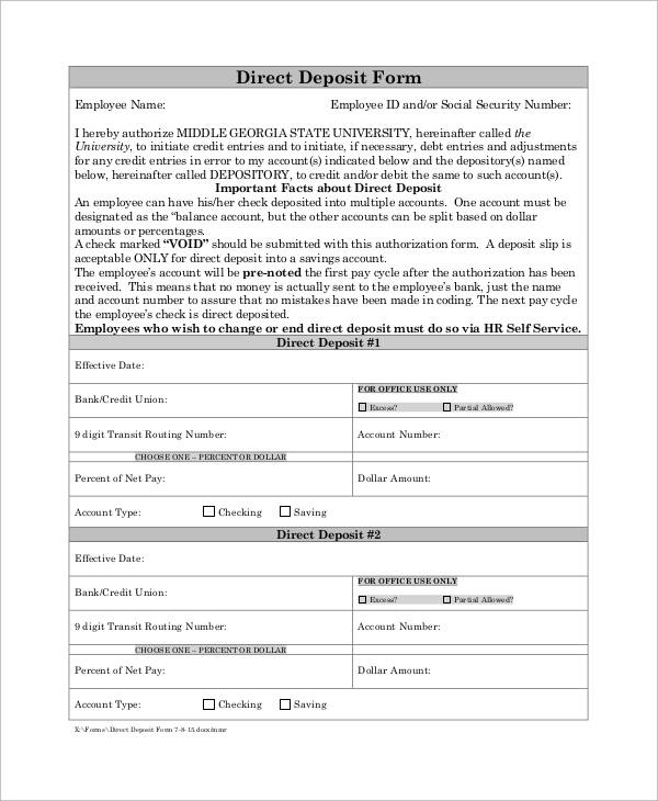 Sample Social Security Direct Deposit Form Examples In Pdf