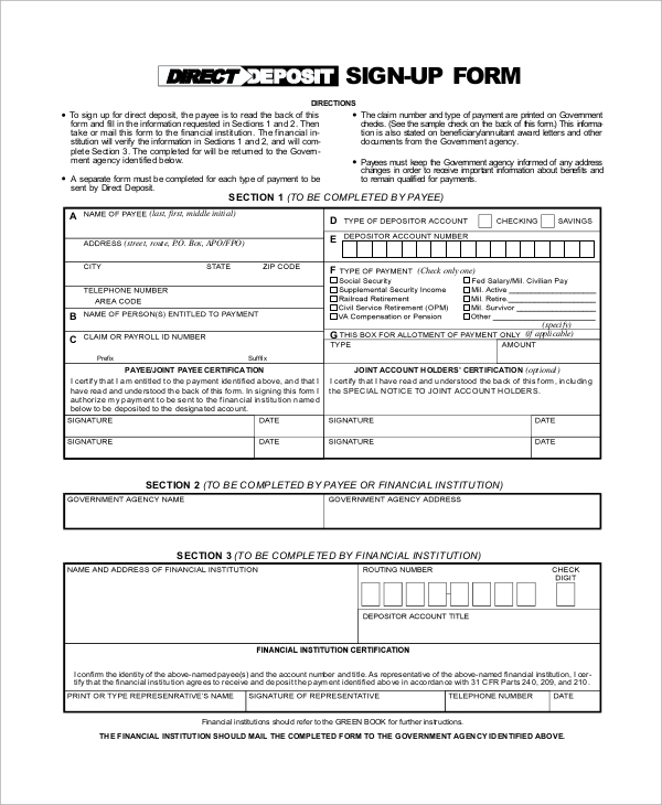 standard social security direct deposit form