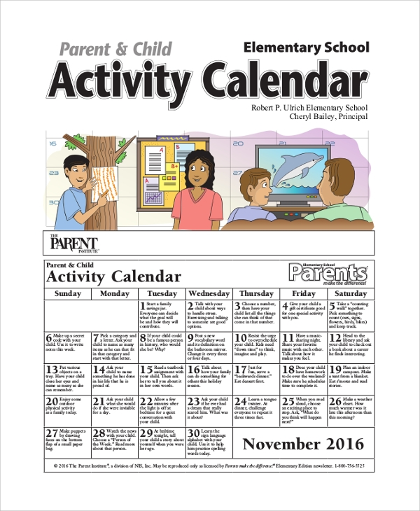 Sample Activity Calendar   Examples In Pdf