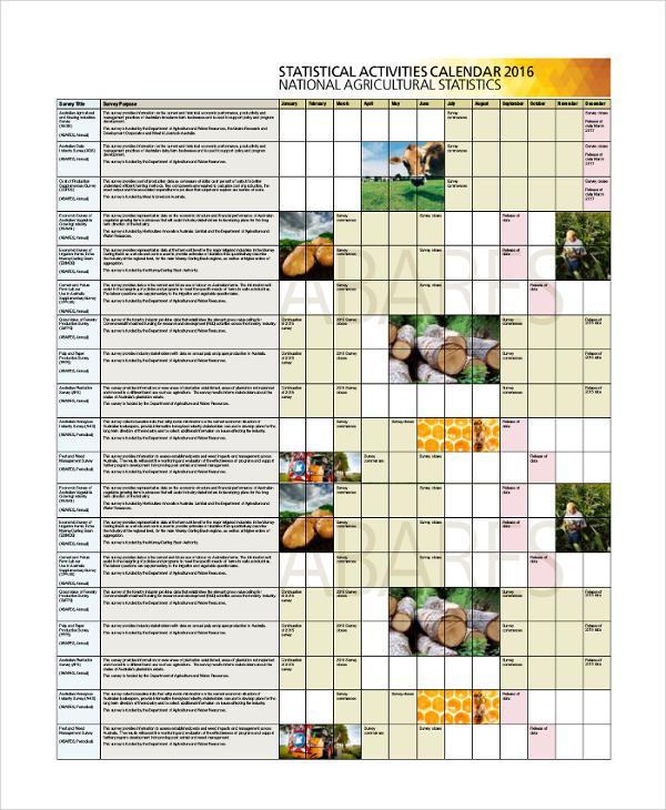 statistical activity calendar