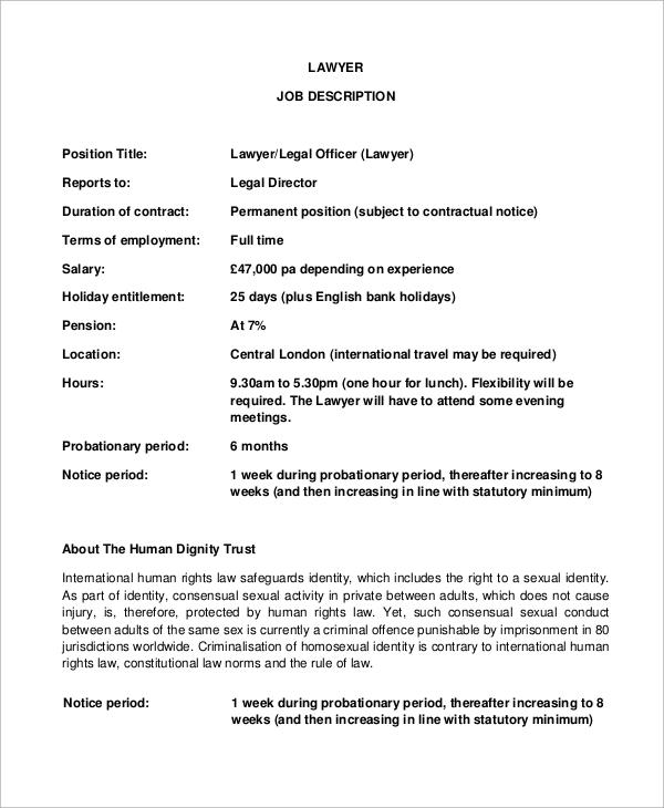 legal lawyer job description