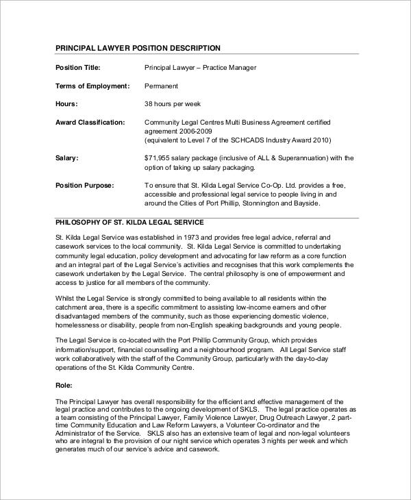 Sampe Lawyer Job Description - 8+ Examples in Word, PDF
