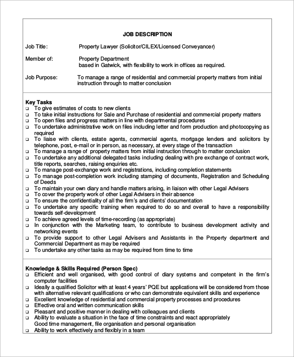 Sampe Lawyer Job Description   Examples In Word Pdf