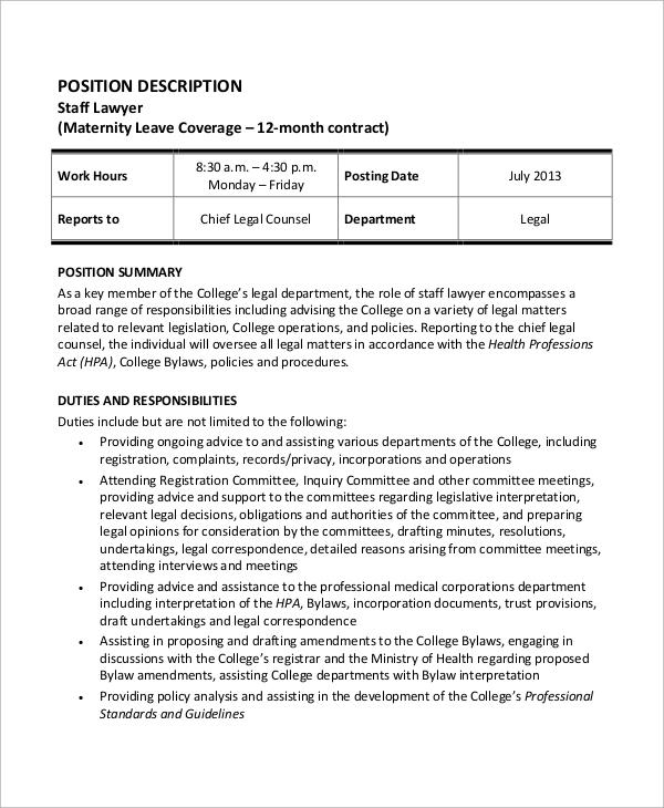 staff lawyer job description