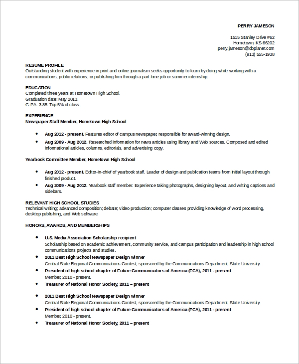 Exceptional Sample High School Academic Resume Ideas High School Academic Resume