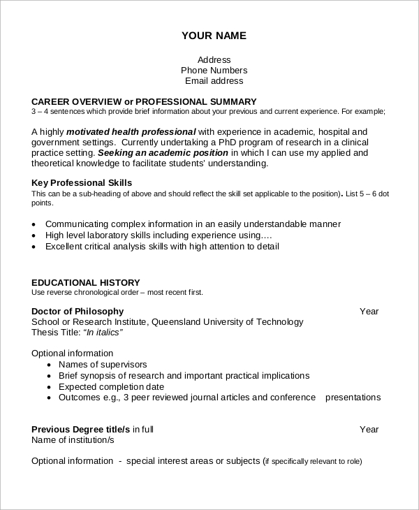 sample academic resume 7 examples in word pdf