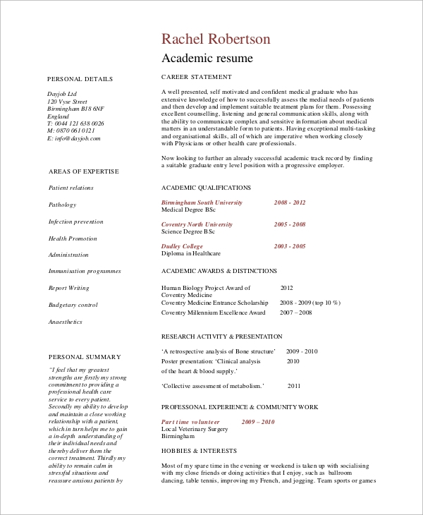 Sample Academic Resume  7 Examples