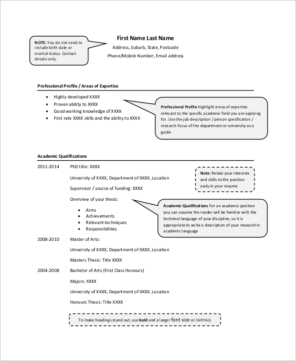 7 sample academic resumes sample templates