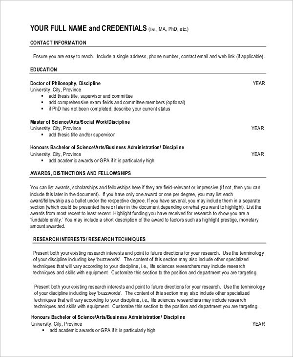Sample Academic Resume 7 Examples in Word PDF – Academic Resume