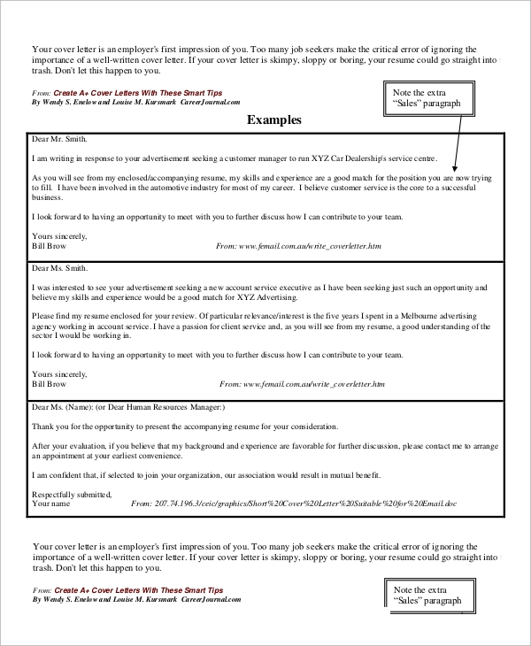 Cover Letter In Body Of Email: Sample Email Cover Letter