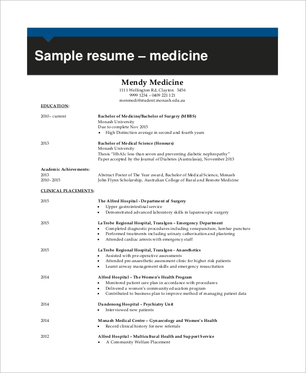 9 Examples Of Resume Sample Templates