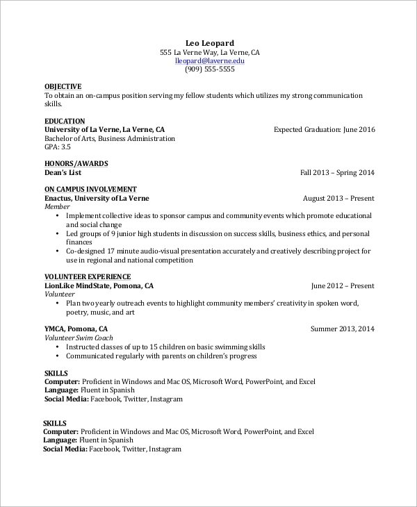 21 Basic Resumes Examples For Students: 9+ Samples In Word, PDF