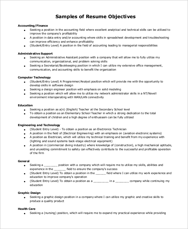 example of resume 9 samples in word pdf