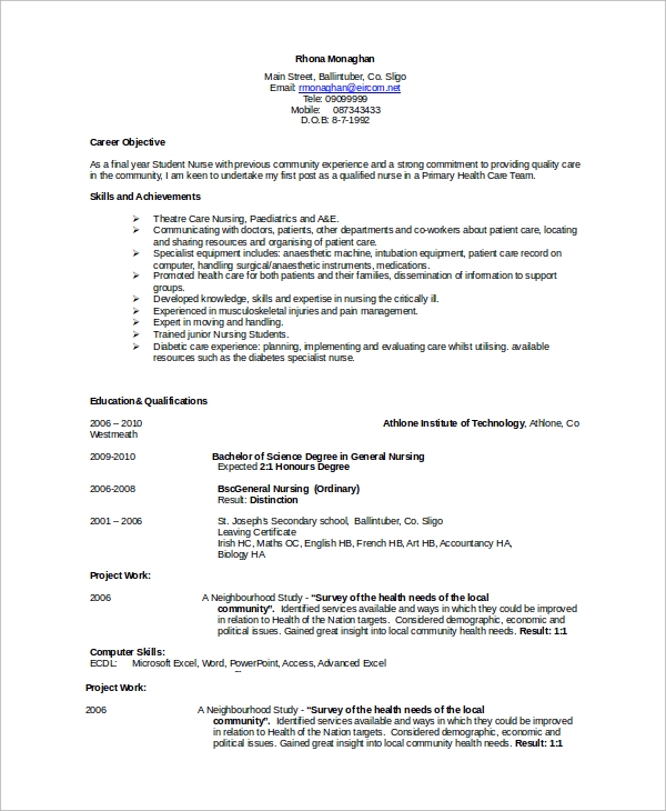 bsc nursing resume format pdf 28 images sle resume for