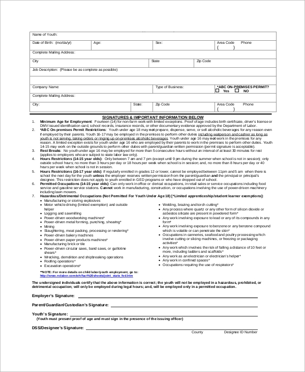 youth certificate of employment