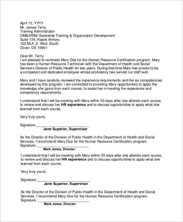endorsement recommendation letter for employment