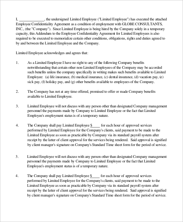 Standard Employment Agreement Standard Employee Agreement Sample