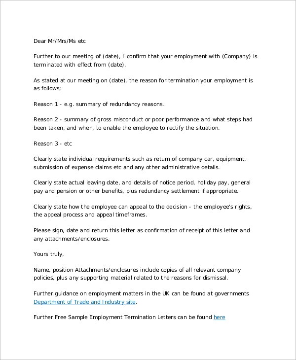 letter of employment termination