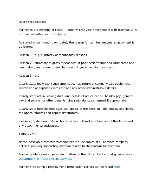 professional termination of employment letter