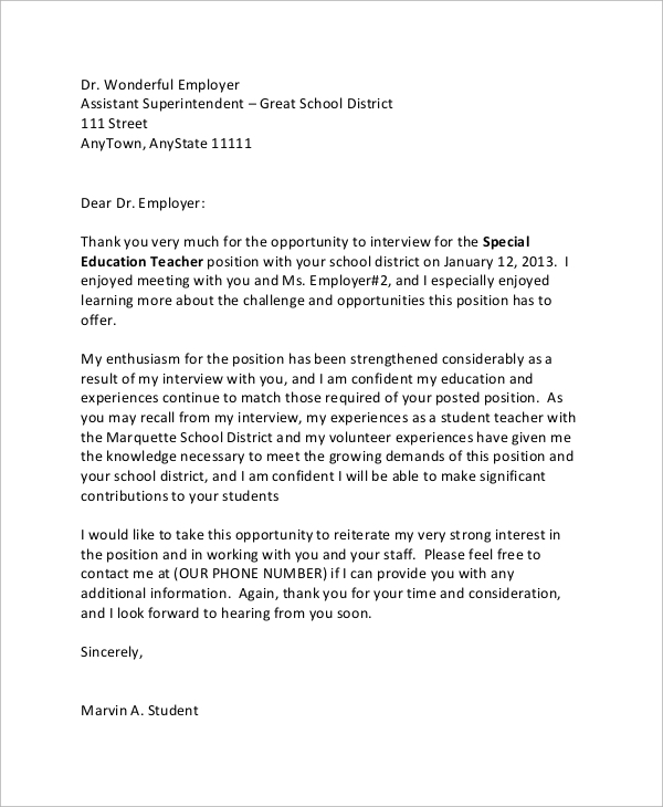 student thank you letter for employment