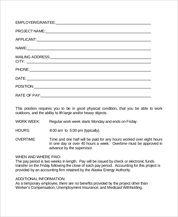 Temporary Employment Contract - Design Templates