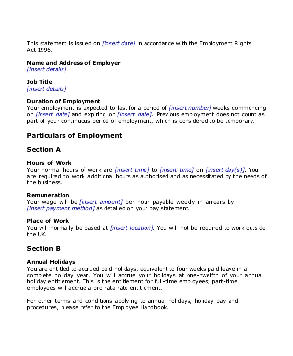 Employer Temporary Employment Contract